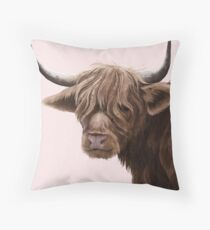 highland cattle portrait  Throw Pillow