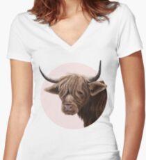 highland cattle portrait  Fitted V-Neck T-Shirt