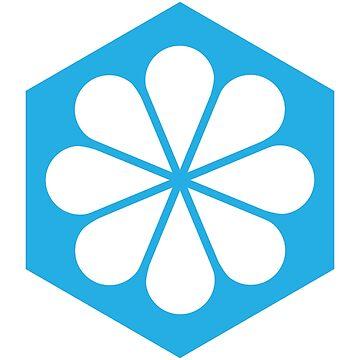 Geometric Pattern: Hexagon Flower: White/Blue by redwolfoz