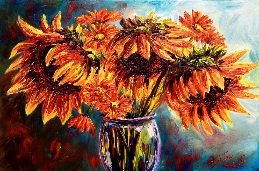Sunflowers and Daisies by sesillie