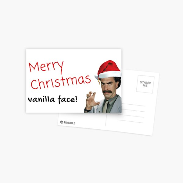 Borat Christmas card, Merry Christmas vanilla face, Gifts, Presents Postcard