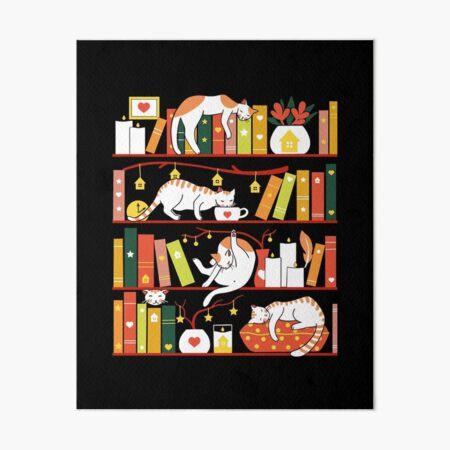 Library cats - autumn colour version  Art Board Print