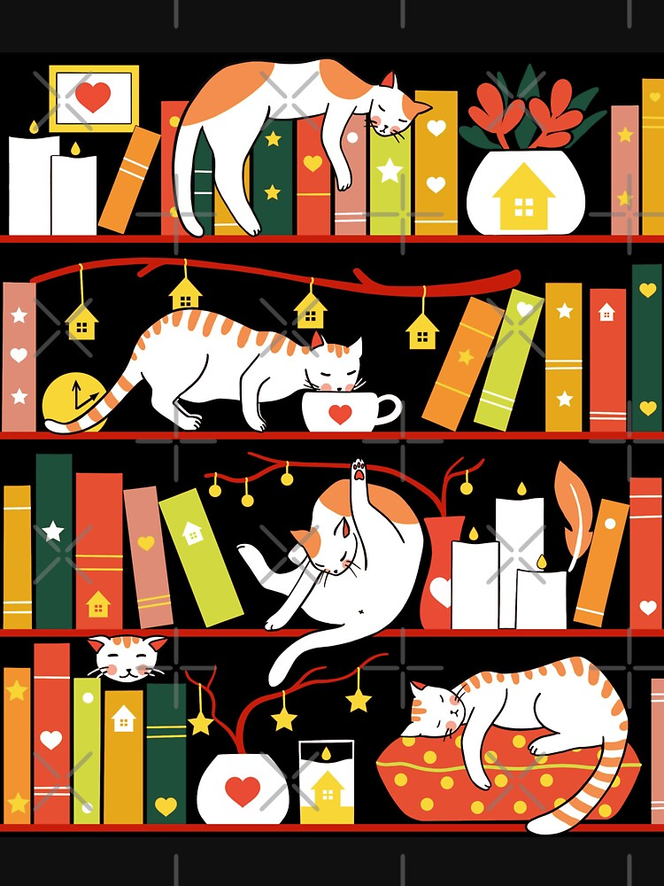 Library cats - autumn colour version  by Elenanaylor