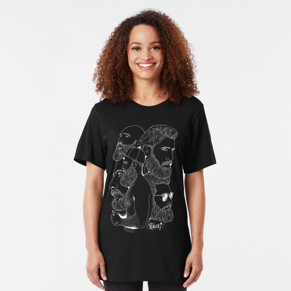 Bear Montage (White lines) Slim Fit T-Shirt