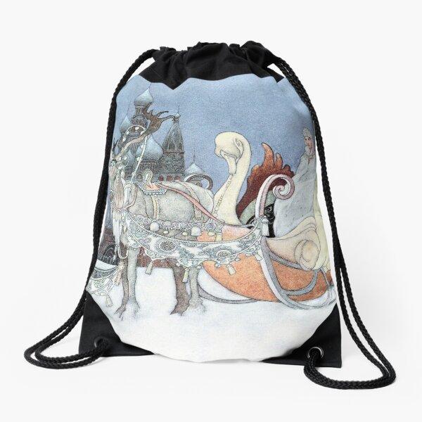 Vintage Reindeer and Sleigh by Charles Robinson Drawstring Bag