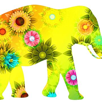 Floral Elephant by Gravityx9