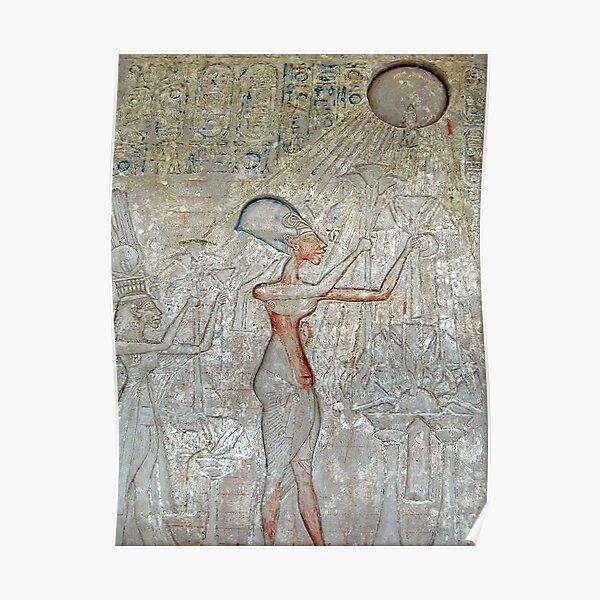 EGIPTO. EGIPCIO. El faraón Akhenaton y su familia adoran a Atón. Póster
