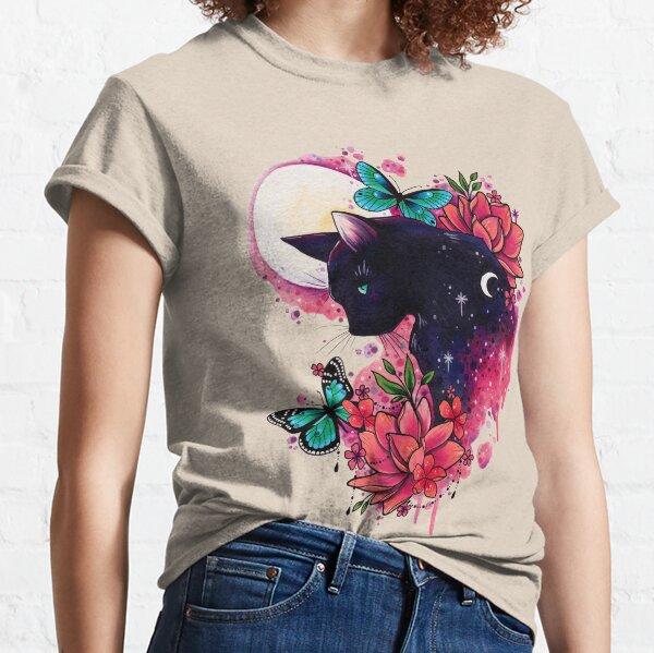 Midnight Cat watercolor design Classic T-Shirt