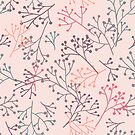 Branches with seedheads soft palette by Kitty van den Heuvel