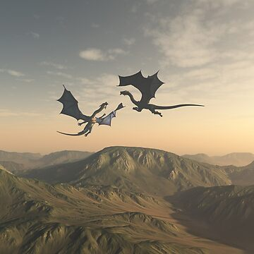 Friendly Dragon Companions Flying over a Mountain Landscape by algoldesigns