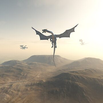 Dragons Circling over a Mountain Landscape by algoldesigns