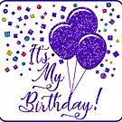 It's My Birthday | Purple Glitter Balloons by CheriesArt