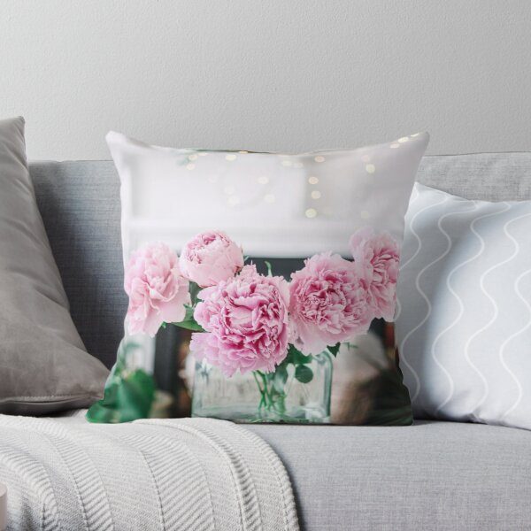 Vase of Pink Peonies with Fairy Lights Throw Pillow