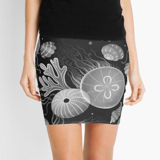 Ocean life - black and white Mini Skirt