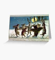 Victorian Christmas Woodland Animal Games Greeting Card