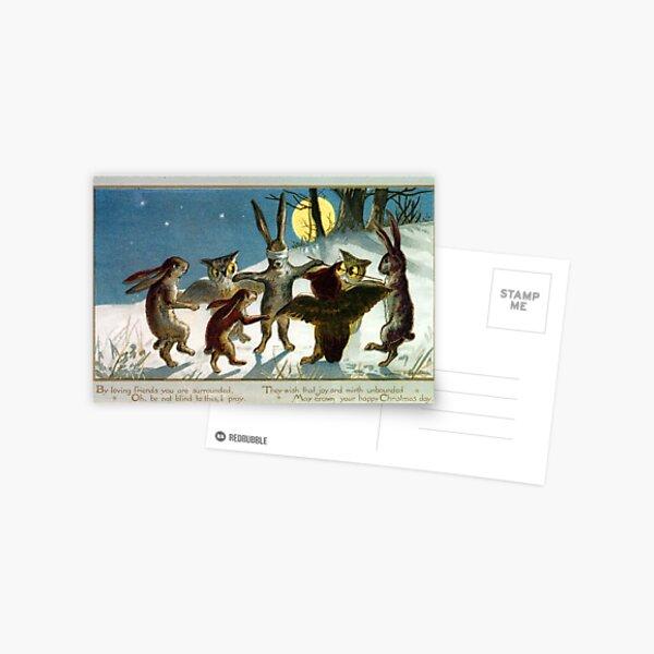 Victorian Christmas Woodland Animal Games Postcard
