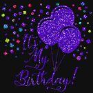 It's My Birthday! Purple Glitter Balloons by CheriesArt
