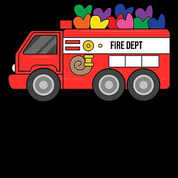Sloth Valentine Fire Truck Hearts by BUBLTEES