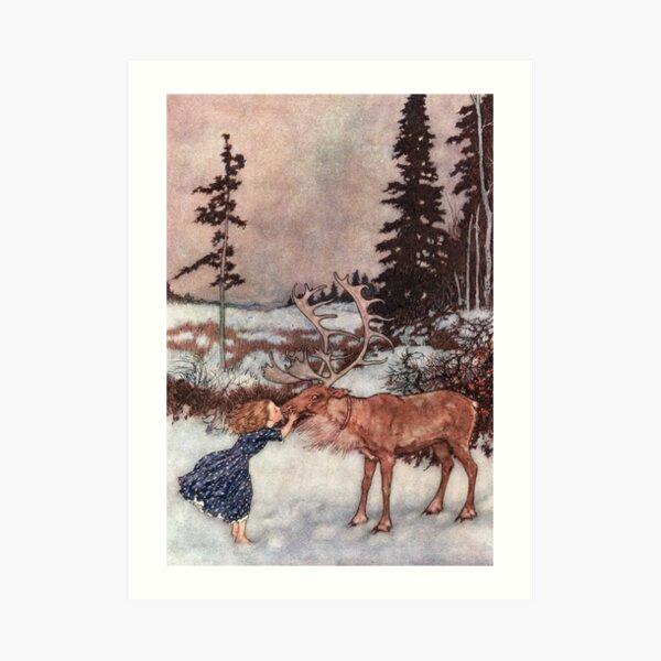 Gerda and the Reindeer by Edmund Dulac Art Print