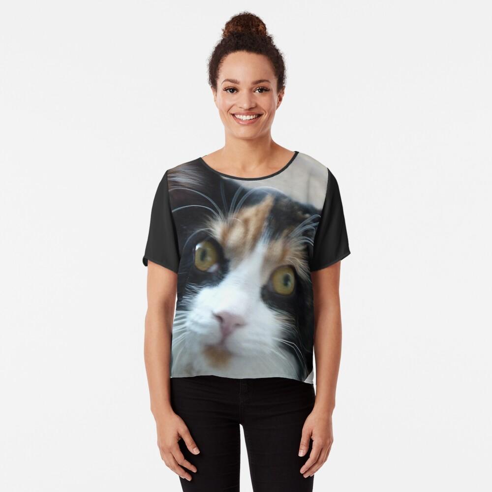Devant Top mousseline femme ''Puce chatte calicot'
