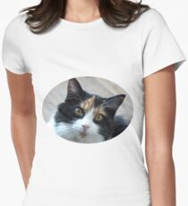 Puce chatte calicot T-shirt col V femme
