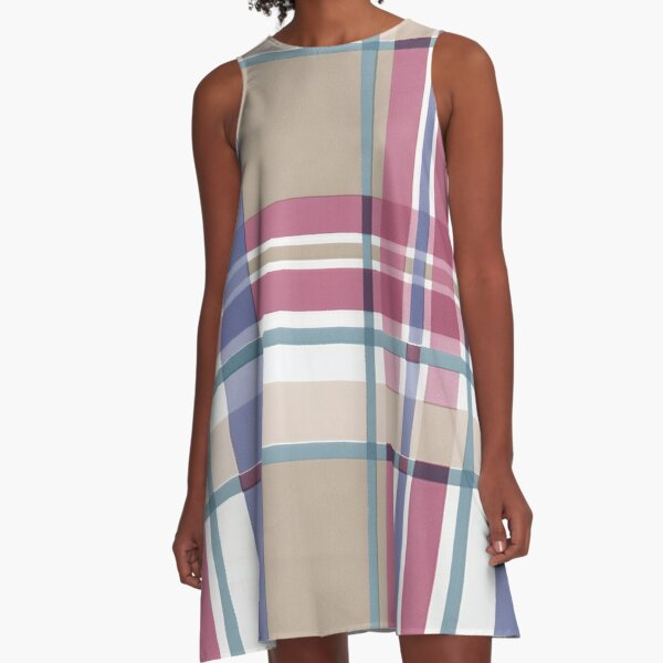 Pink and Purple Plaid A-Line Dress