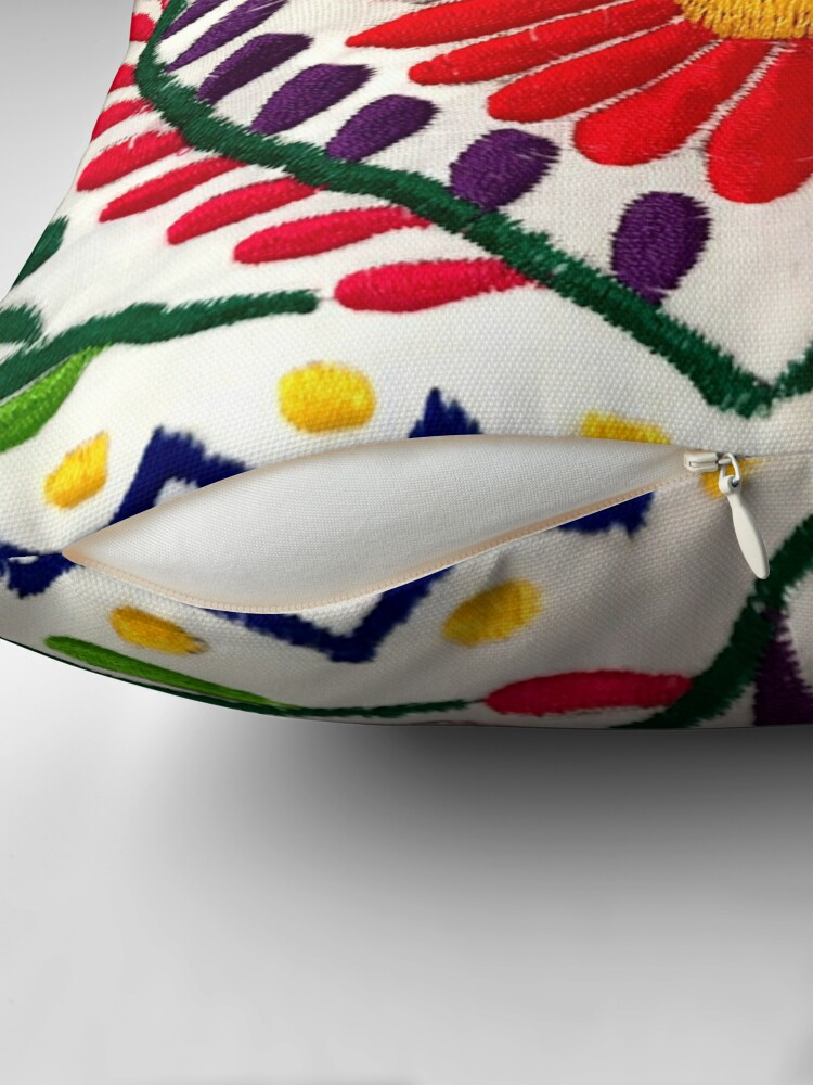 Alternate view of Mexican Flowers Throw Pillow