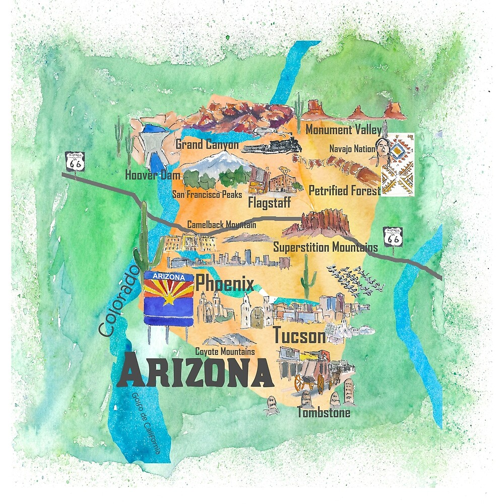 Map Of Usa Arizona.Usa Arizona State Travel Poster Illustrated Art Map By Artshop77