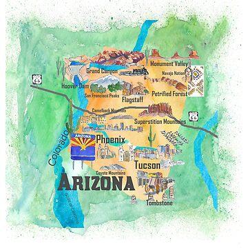 USA Arizona State Travel Poster Illustrated Art Map by artshop77