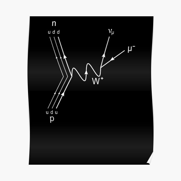 Muon Decay Feynman Diagram- Particle Physics  Poster