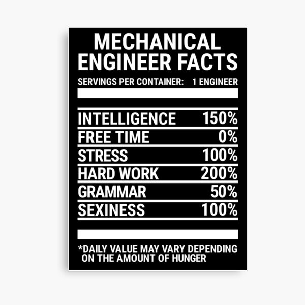 Funny Mechanical Engineer Nutrition Facts T-shirt Canvas Print