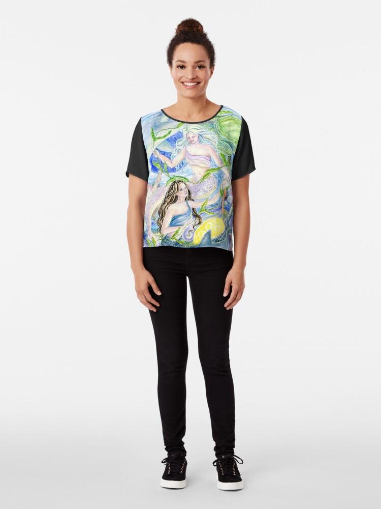 Alternative Ansicht von Yin Yang Meerjungfrauen Chiffon Top