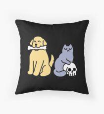 Good Dog Bad Cat Throw Pillow