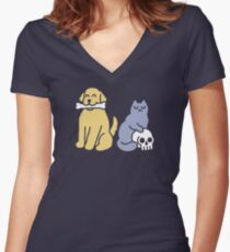 Good Dog Bad Cat Fitted V-Neck T-Shirt