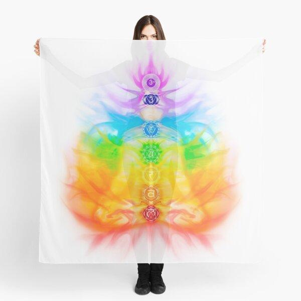 Yoga meditation conceptual illustration with chakras and energy flow on human body art print Scarf
