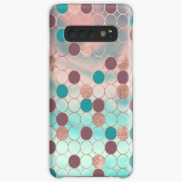 Girly Chic Rose Gold Purple Teal Circle Geometric Samsung Galaxy Snap Case