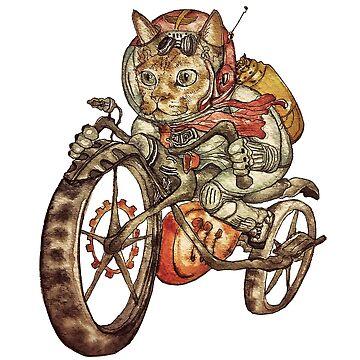 Berserk Steampunk Motorcycle Cat by felissimha