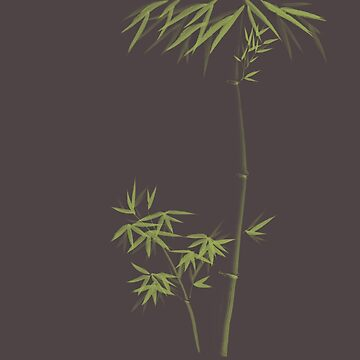 Green Bamboo stalks with leaves Japanese Zen Sumi-e stylish modern design art on grey art print by AwenArtPrints