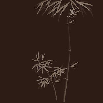 Elegant brown Zen design art of Bamboo stalks with leaves art print by AwenArtPrints