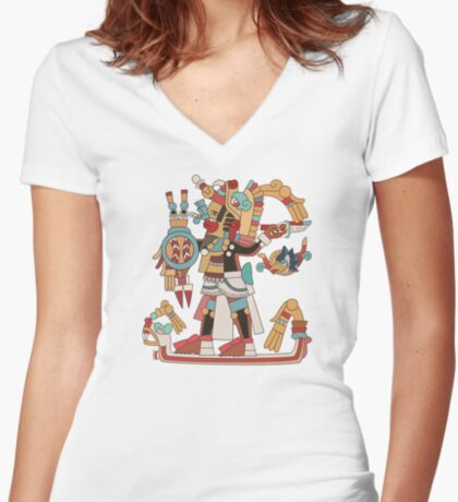 Aztec Warrior [Vector] Women's Fitted V-Neck T-Shirt