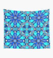 Blue Stained Glass Wall Tapestry