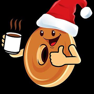 Santa Claus Donat Coffee funny cartoon drawing by peter2art