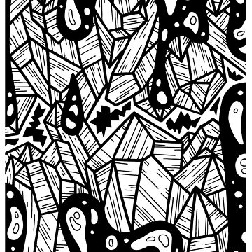 Magick Crystals - Tarot Style Black and White Illustration by bblane