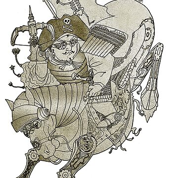 Steampunk Pirate Samurai Riding Iron Horse by felissimha