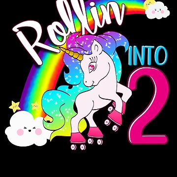 Unicorn 2nd Birthday Shirt for Kids - Magical Skater Rollin into 2 by proeinstein