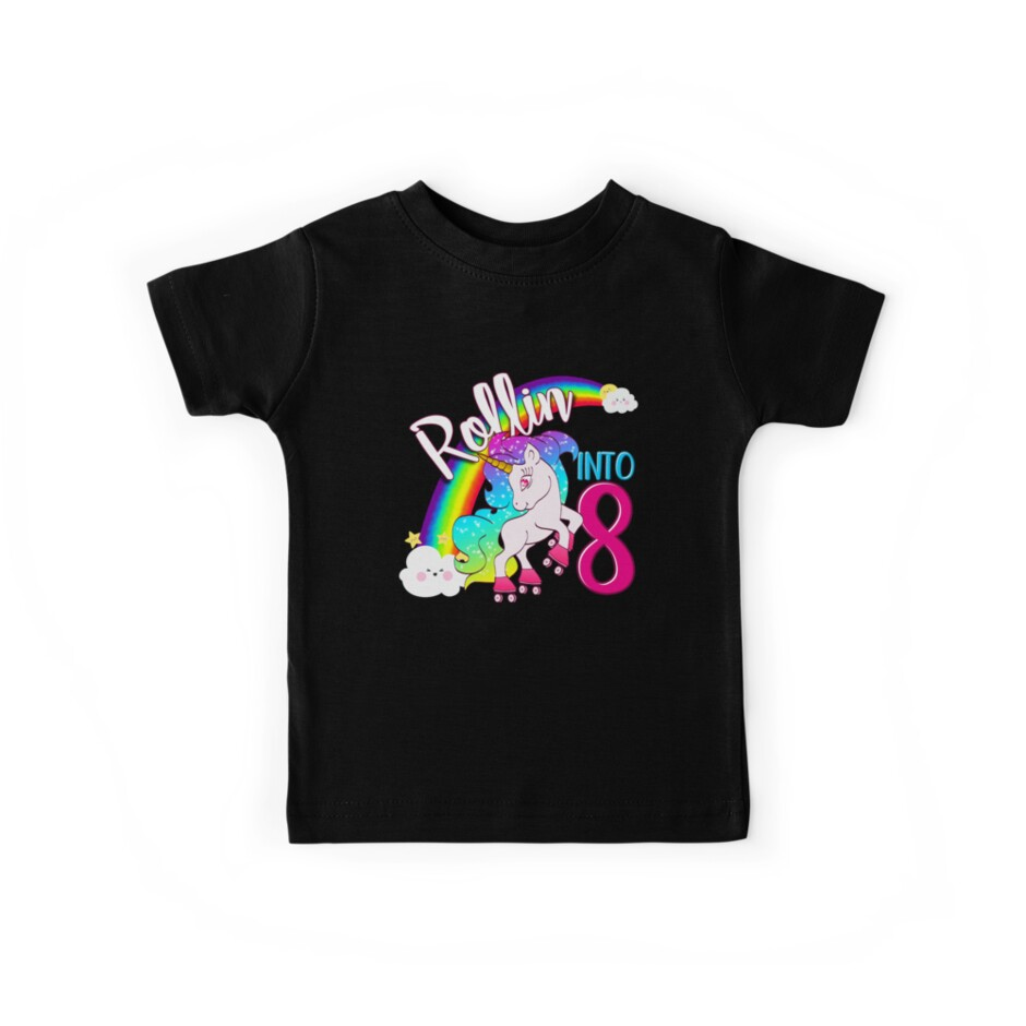 2eab56d85 Unicorn 8th Birthday Shirt for Kids - Magical Skater Rollin into 8 ...