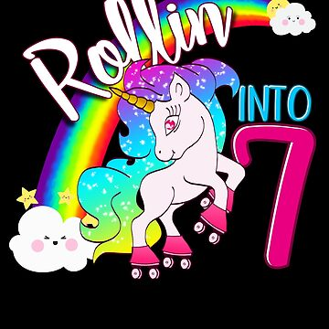 Unicorn 7th Birthday Shirt for Kids - Magical Skater Rollin into 7 by proeinstein