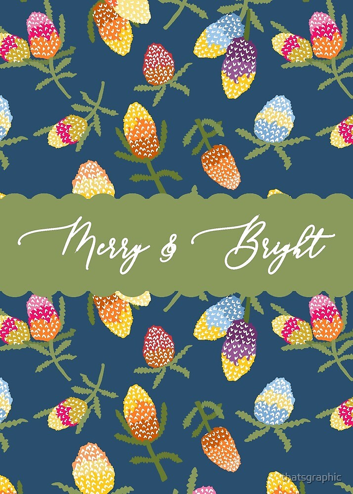 Merry and Bright Australiana Christmas Card by thatsgraphic