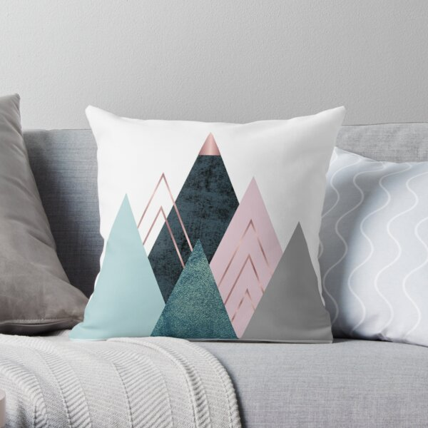 Abstract minimalist mountain - Pink, Teal and blue Throw Pillow