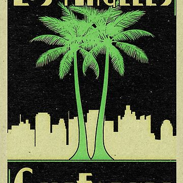 Los Angeles California Vintage Art Deco Palm Trees by MyHandmadeSigns